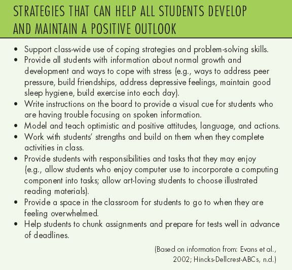 Strategies that can help all students develop and maintain a positive outlook.