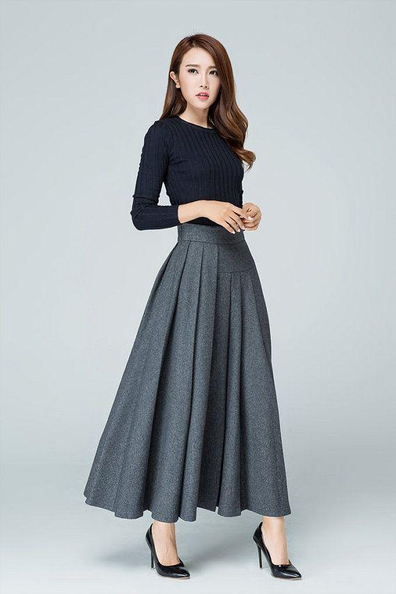 grey skirt long skirt wool skirt. pleated skirt ladies