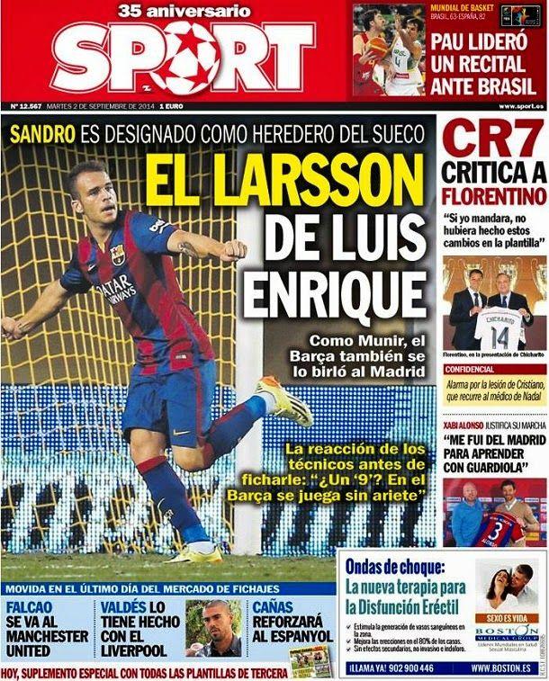 Portada Sport, martes 2 septiembre 2014 - El Larsson de Luis Enrique
