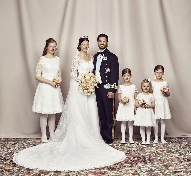 Bridal party: The happy couple with Sofia's bridal party, including Princess Estelle (seco...