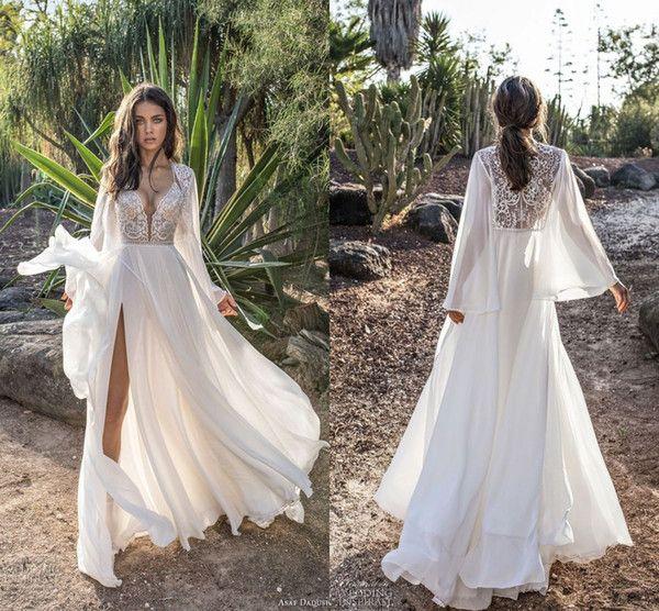 Asaf Dadush 2018 Wedding Dresses With Long Lantern Sleeve Modest Lace Chiffon Sexy Split Flowy Beach Boho Country Garden Bridal Dress
