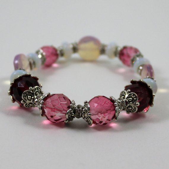 Think Pink Crystal and Gemstone Stretch by AlwaysBeadBeautiful
