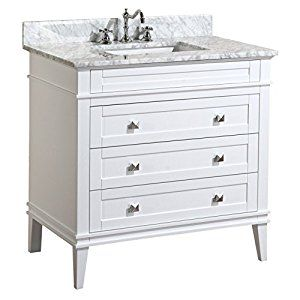 """Kitchen Bath Collection KBC-L36WTCARR Eleanor Bathroom Vanity with Marble Countertop, Cabinet with Soft Close Function & Undermount Ceramic Sink, 36"""", Carrara/White - - Amazon.com"""