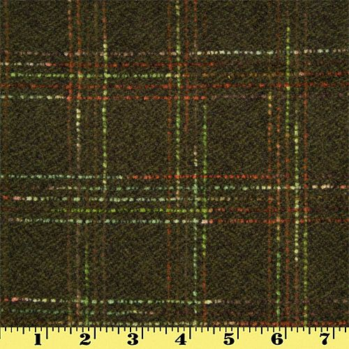 Wool Saddle Blanket Fabric by the Yard Olive Plaid with Red Stripes