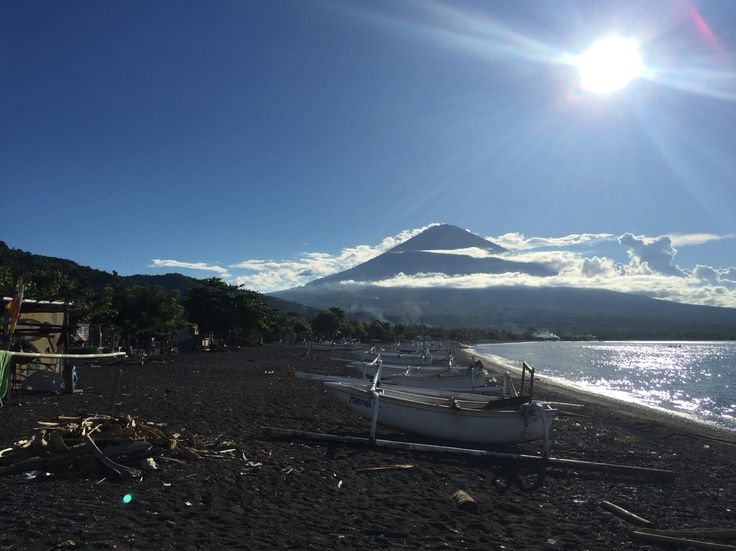 Looking at Mt Agung from Amed Beach.
