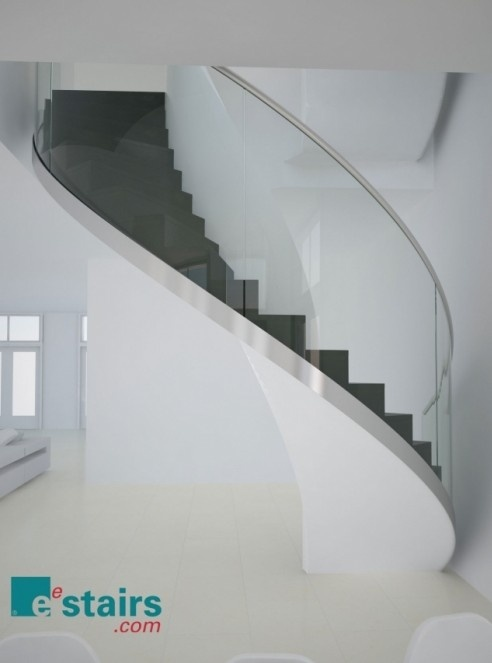 Helical staircase with glass balustrade, by EeStairs.