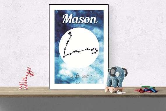 Custom Pisces wall art Zodiac constellation name print