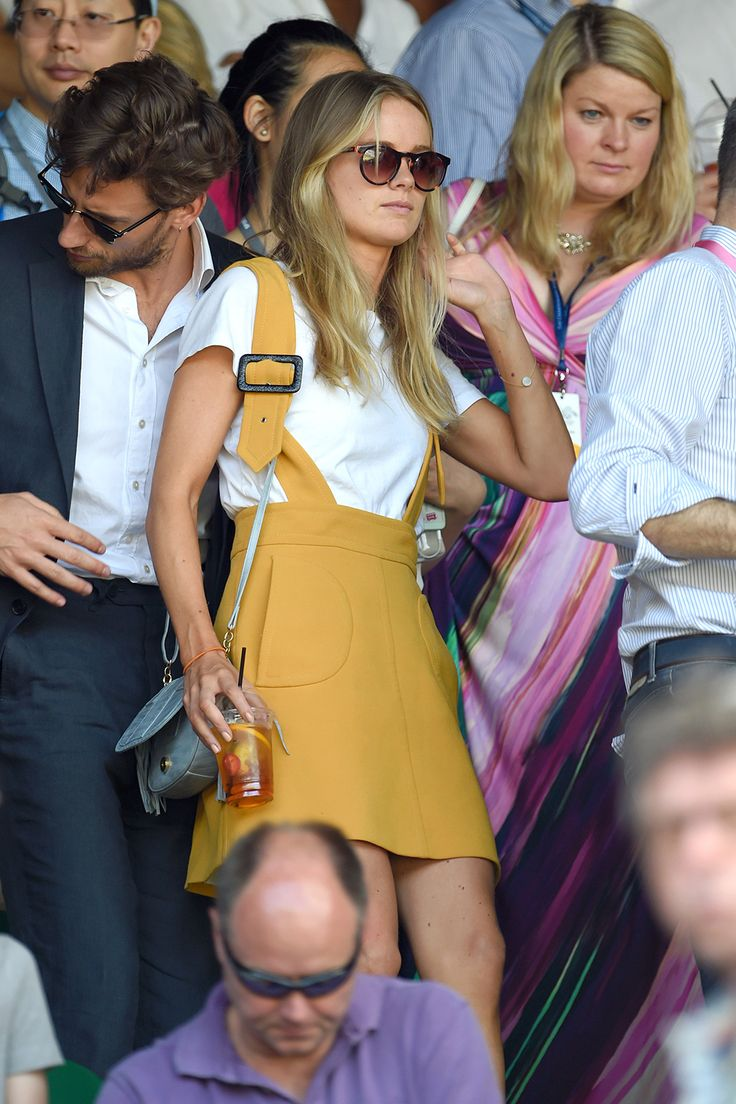 Cressida Bonas wearing a Claudie Pierlot dungaree skirt - HarpersBAZAAR.co.uk