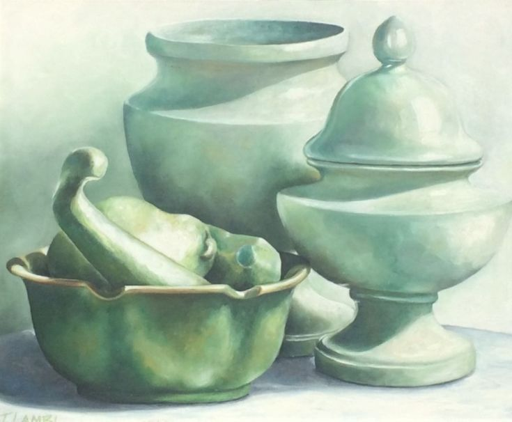 Buy Still Life in Green, Oil painting by Trisha  Lambi on Artfinder. Discover thousands of other original paintings, prints, sculptures and photography from independent artists.
