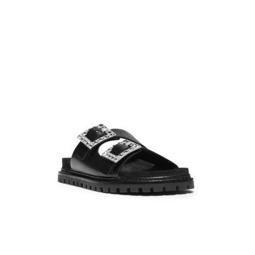 Cheap MK Outlet Online & MICHAEL MICHAEL KORS Alda Embellished Vachetta Leather Sandal BLACK