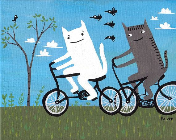 Cats Riding Bikes Painting  Original Art on Canvas  by 3crows, $50.00