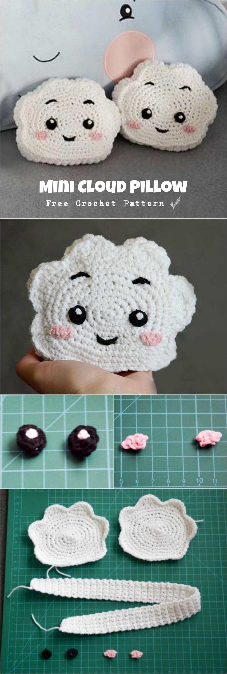 Crochet Mini Cloud Pillow #rose crochet  rosecrochet.com/ #rose #crochet #knitti...