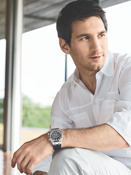 Soccer player Leo Messi wearing Audemars Piguet's Limited Edition Leo Messi Royal Oak