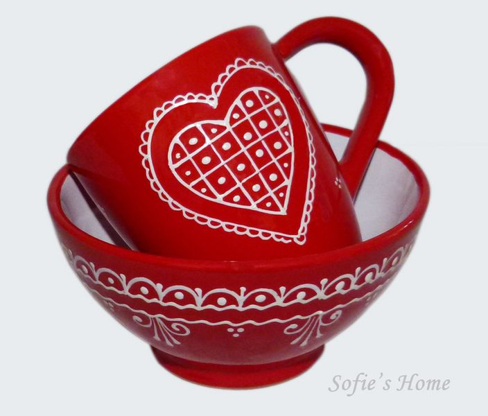 Landhaus Herz  Becher Müslischale  rot handmade  von Sofie's Home auf DaWanda.com  Hand-painted Heart and lace decors on Sofie's Home ceramic