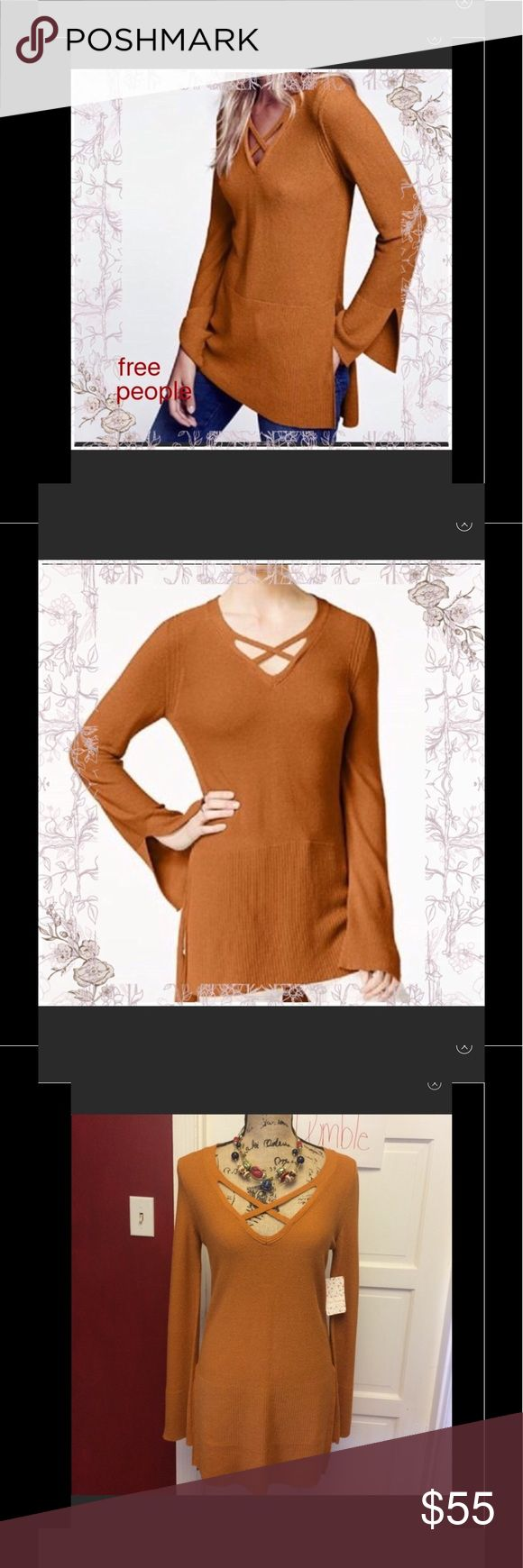 NWOT free people criss cross ginger sweater tunic New without tags free people sweater tunic - gorgeous color is ginger root these are all new without tags- one of the smalls is missing it's inner metal free people tag Free People Sweaters