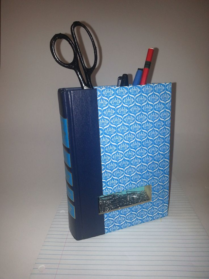 Desk Organizer - Recyled Book Pencil Holder - Upcycled Reader's Digest Condensed Books by FunEclecticHF on Etsy