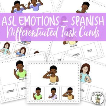 """48 American Sign Language Emotions (SPANISH) Differentiated Task Cards. 16 Picture (with word) to Picture, 16 Picture (with word) to Word and 16 Picture to Word. Also comes with ASL Emotions """"cheat sheet""""/chart. ***THESE TASK CARDS ARE IN SPANISH** #signlanguagechart"""