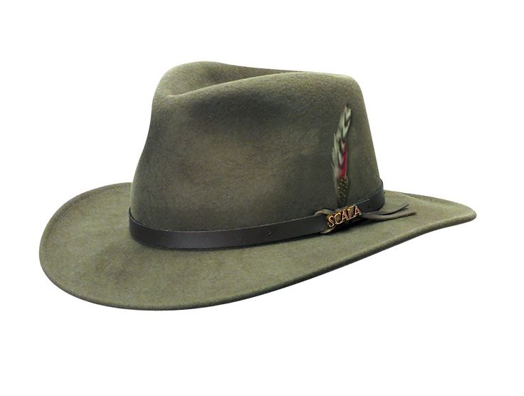 The Scala wool felt outback is a great winter hat but is also light enough to be worn on the warmer days too. It is crushable and the wool felt is water-repellant. Comes trimmed with a faux leather ba