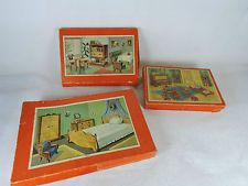 3 staré krabice panenku nábytku fd .Puppenstube Schowanek - pohled