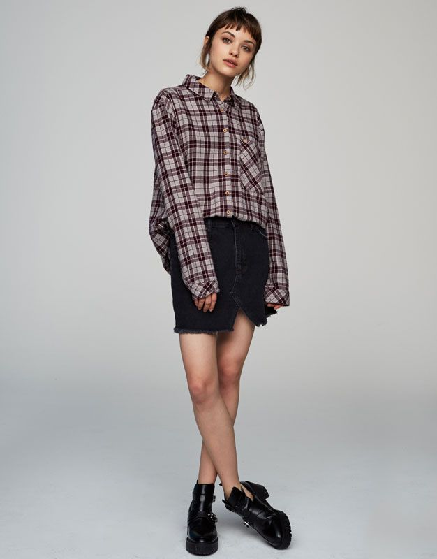 Long-sleeve checked shirt - See all - New - Woman - PULL&BEAR Portugal