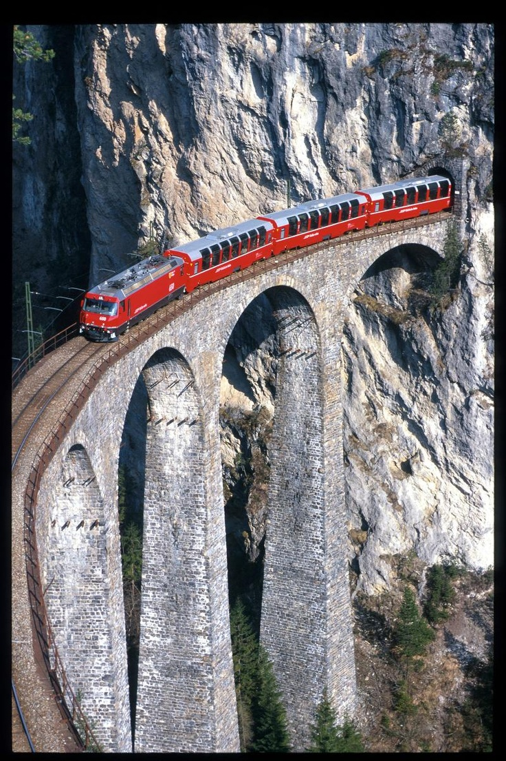 Red Train Bernina between Italy and Switzerland