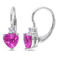 3 1/5 CT TGW Pink Sapphire White Sapphire heart Love LeverBack Earrings Silver