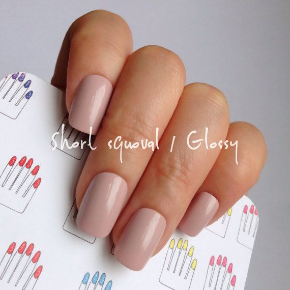 Short Squoval Glossy Pastel Azuki Hand Painted Nail Tips Press On Stick Fake Nails 12 Pcs Or 20 In 2018