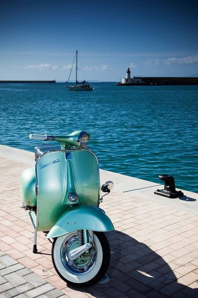 vintage Vespa in turquoise and chrome