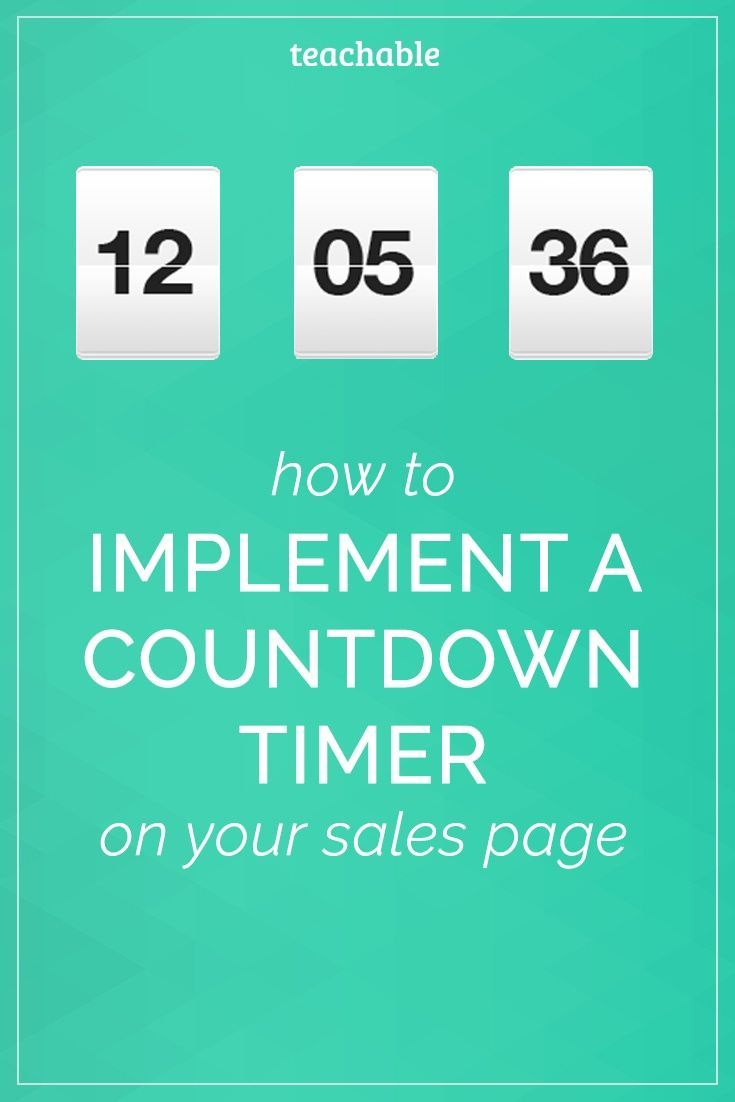 Watch this video to implement a countdown timer on your Teachable course sales page to incentivize your audience to buy your product now!