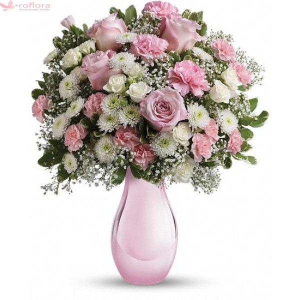 Radiant - Buchet din trandafiri si crizanteme