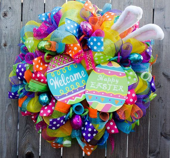 Super cute very bright Easter bunny Easter by ourinspiredcreations #Easter #Easterbunny #Eastereggs #Easterwreaths