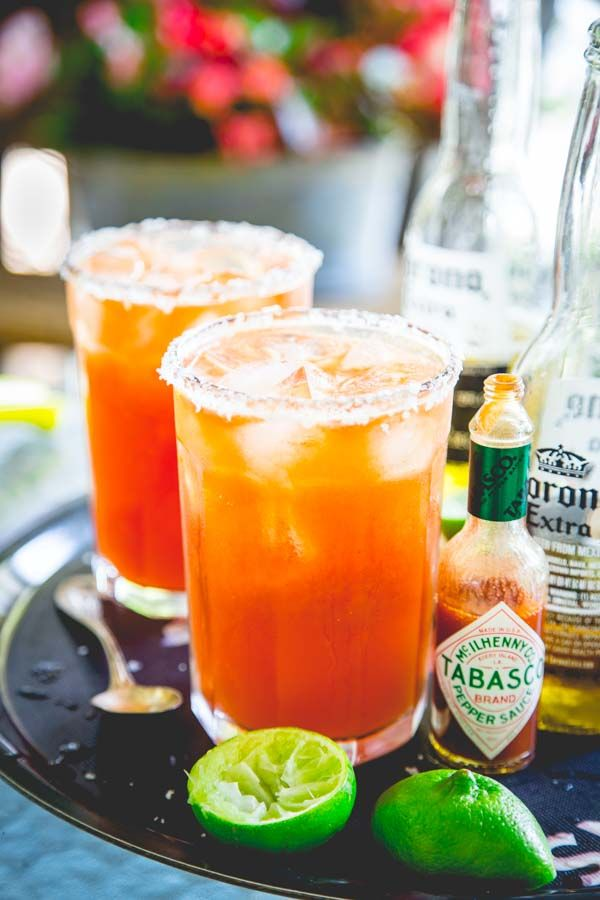 Also known as Red Beer! These are so refreshing. Here's how to make killer michelads by Healthy Seasonal Recipes. It's a savory beer drink, served with ice, lime, hot sauce and tomato juice.