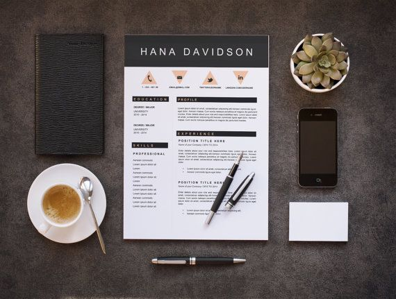 Resume Template | CV Template + Cover Letter for Microsoft Word | Instant Digital Download | Hana