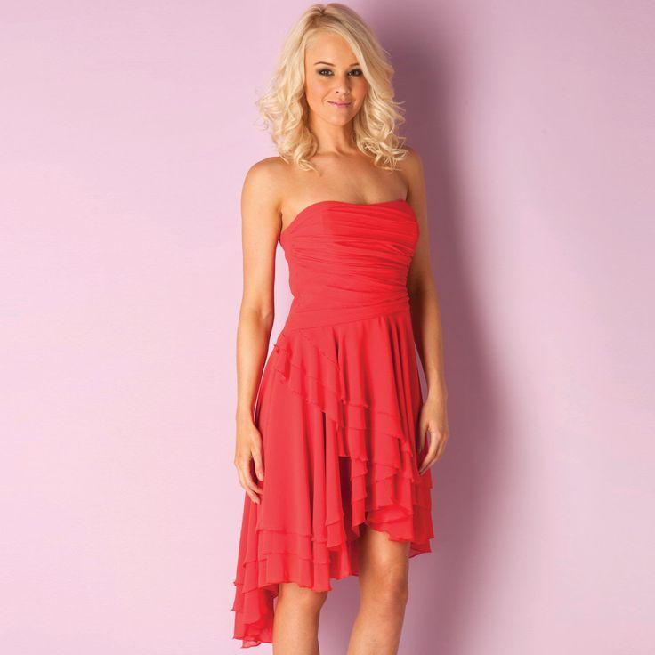 Women | Coral Womens Bandeau Dip Hem Dress | Get The label