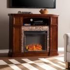 Westchester 47.5 in. W Faux Stone Electric Media Fireplace in Espresso (Brown)