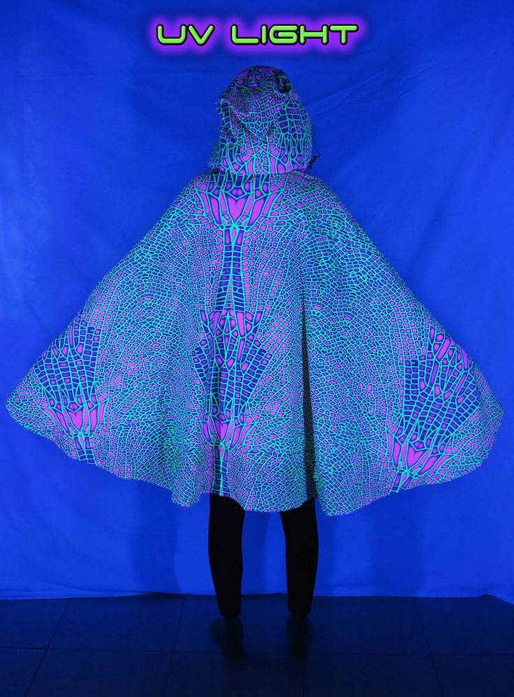 Hooded Cape : Acid Dragonfly  Printed cape with Pixie Hood.  UV Active !  Drawstring fastening.  Fully lined with black fabric.  100% cotton.  Machine washable.  Artwork by Space Tribe