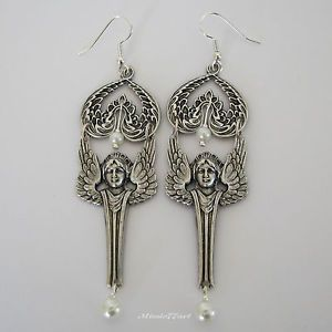 Wings of an Angel Silver Plate Statement Chandelier Earrings with Glass Pearls by Missie77art Jewellery on ebay