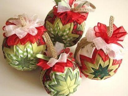 Paso a paso de como hacer una bola de Navidad de tela...