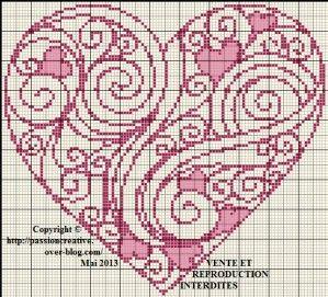 Cuore arabesque, arabesche heart cross stitch or needlepoint chart