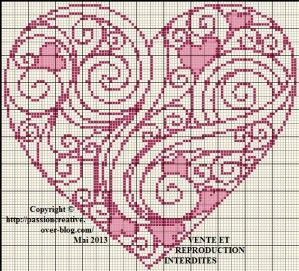 Grille gratuite point de croix : Coeur rose