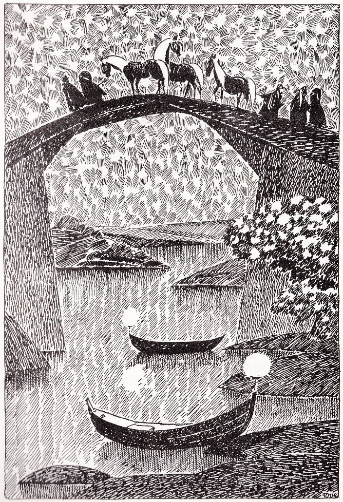 Tove Jansson illustrated J.R.R Tolkien's The Hobbit for the 1962 Swedish edition.