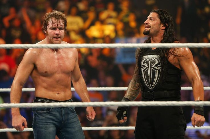 Dean Ambrose and Roman Reigns celebrate their victory at the WWE SummerSlam 2015 at Barclays Center of Brooklyn