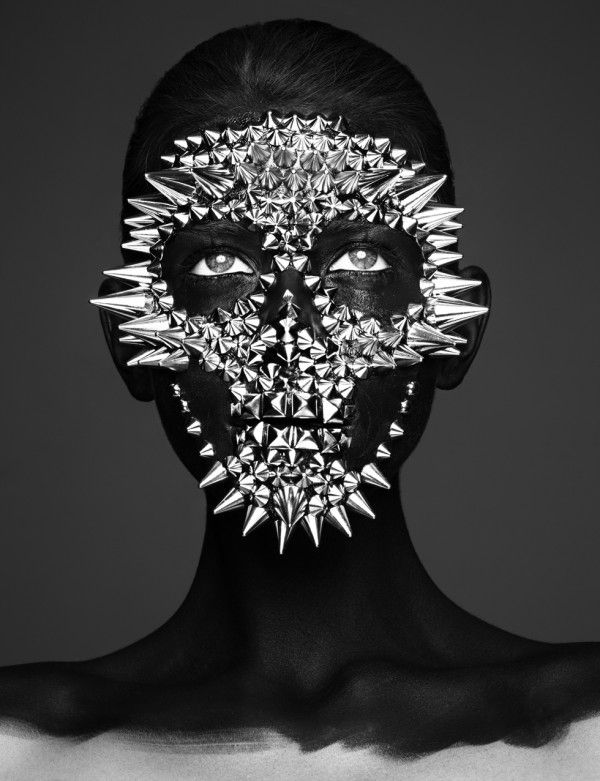 Editorial by Rankin and Andrew Gallimore #black #face #studs #spikes #mask #skull