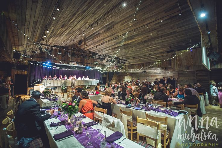 Rustic wedding with purple accents. (photo credit Anna Michalska) at Cornerstone Theatre, Canmore