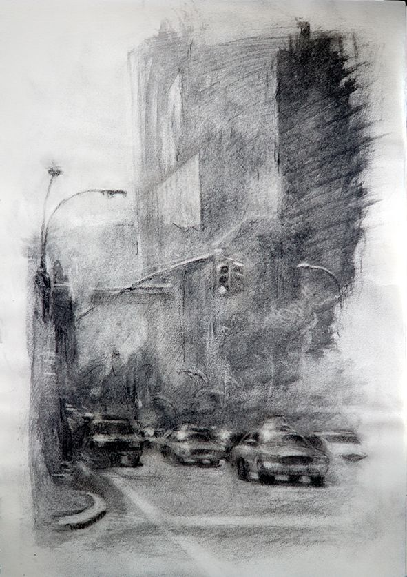 NEW YORK STREET  48x28 cm. Charcoal. E. Pitarch © 2015. All rights reserved.