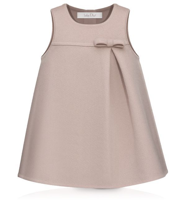 Child Gown BABY DIOR - Pink and taupe double-sided cashmere gown   Baby Dress