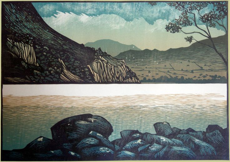 Across llyn Gwynant. Linocut by Ian Phillips