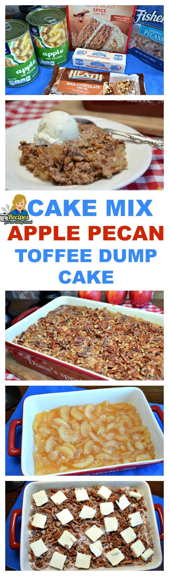 Just dump the ingredients in a 9x13 baking dish and bake for a delicious Apple Pie dessert. Apple Pecan Toffee Dump Cake is a super easy dessert.
