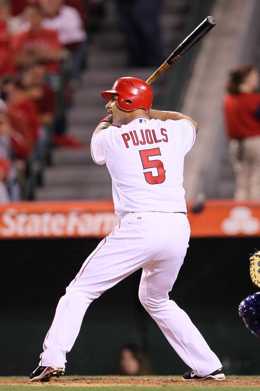 ANAHEIM, CA - APRIL 06: Albert Pujols #5 of the Los Angeles Angels of Anaheim at bat in the second inning against the Kansas City Royals on Opening Day of the 2012 MLB season at Angel Stadium of Anaheim on April 6, 2012 in Anaheim, California. (Photo by Jeff Gross/Getty Images)