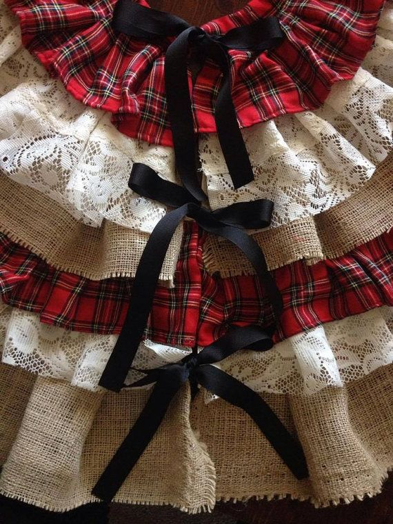 Flannel Burlap & Lace  Country Christmas Tree Skirt by FordCountry